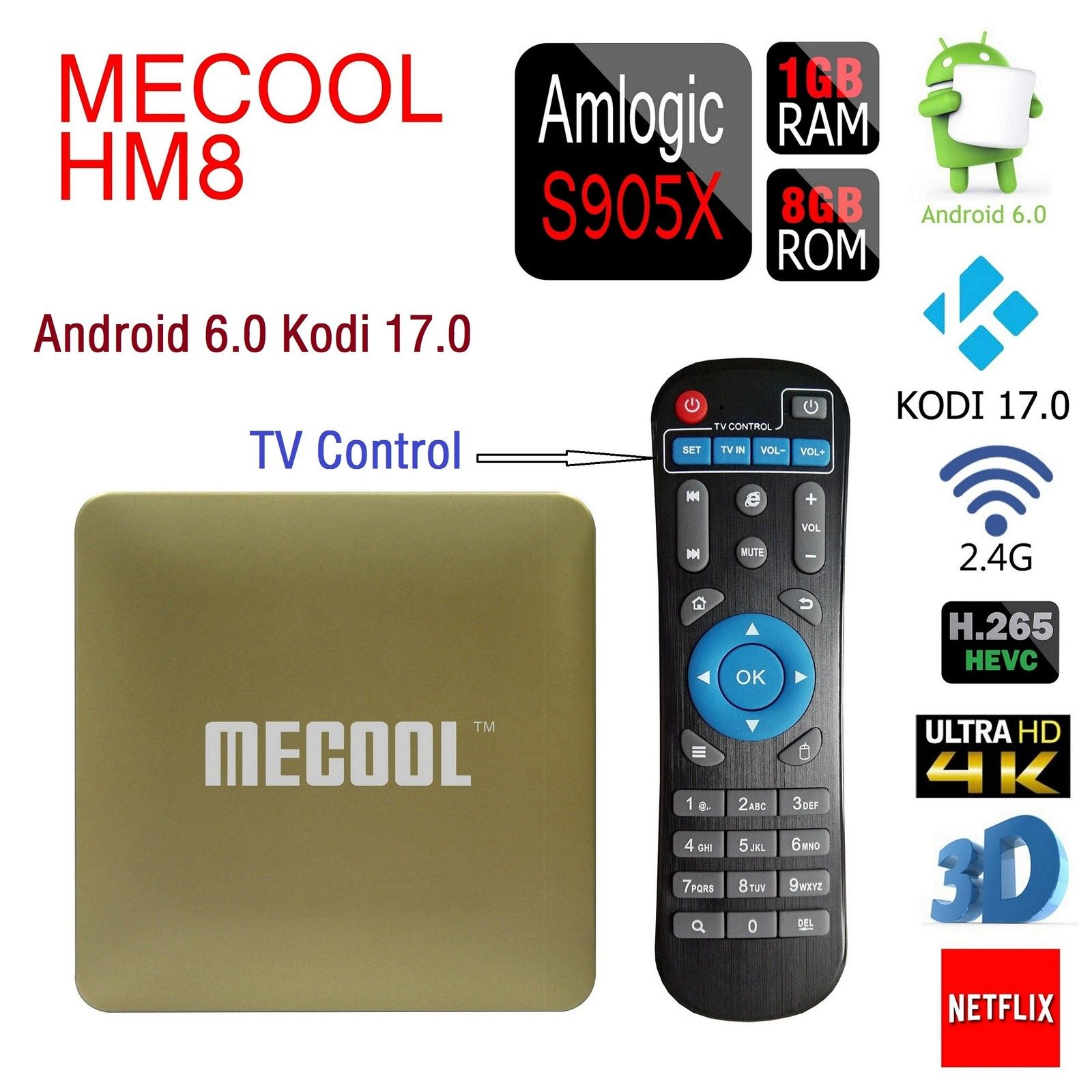 AKASO  HM8 TV Box Amlogic S905X Quad Core 64 Bit Android 6.0  Kodi 17.0 VP9 Profile Smart Mini PC 1GB+8GB 4K TV Set Top Box wifi himedia q10 hot hi3798cv200 quad core 64 bit android tv box smart tv iptv 3 5 hdd dts ac3 player 2g 16g kodi 2 4 5g wifi bt4