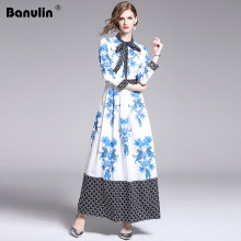 Banulin 2019 Spring Casual Vacation Long Sleeve Maxi Dress Womens Charming Floral Animals Printed Boho Holiday