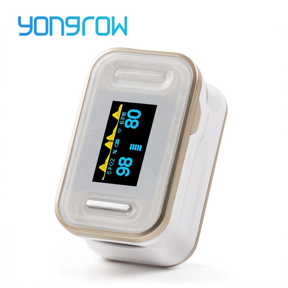 Yongrow Oxímetro de Pulso Oxímetro De Pulso De Dedo Oxímetro de Pulso Da Ponta Do Dedo de Ouro Cor Oled Oxímetro De Pulso Monitor de Freqüência Cardíaca