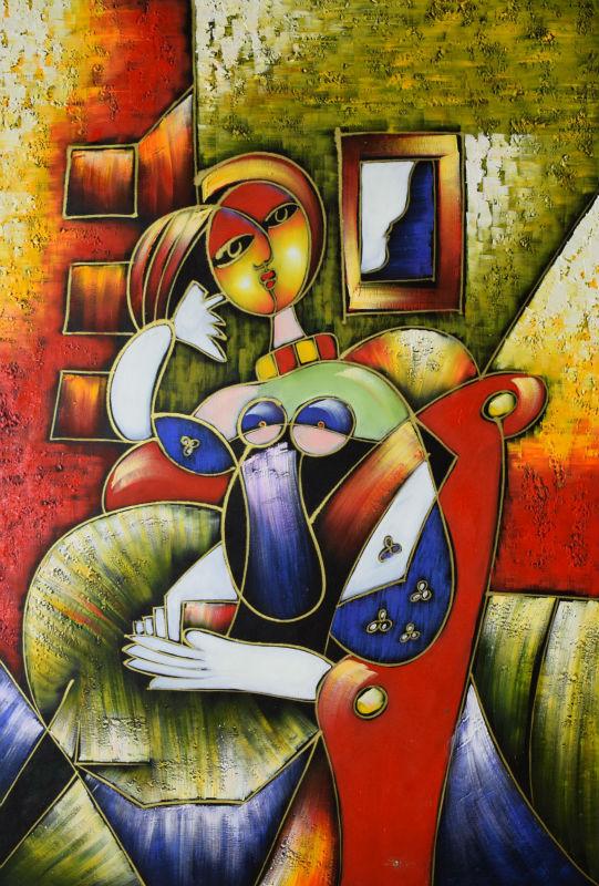 Ročno poslikana slika s platnom na platnu Svetovno znana Picassova - Dekor za dom - Fotografija 2