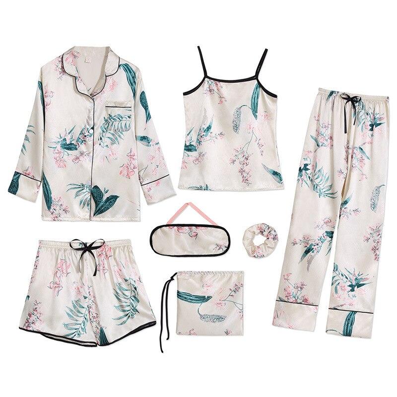 2019 Sleepwear Pyjamas Women's 7 Pieces Pink   Pajamas     Sets   Satin Flower Print Homewear Silk Sleepwear Pyjamas   Set   Pijamas
