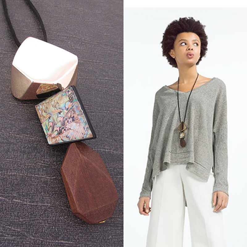 Vanssey Vintage Fashion Geometric Abalone Mother of Pearl Resin Wood Necklace Party Wedding Accessories for Women 2018 New