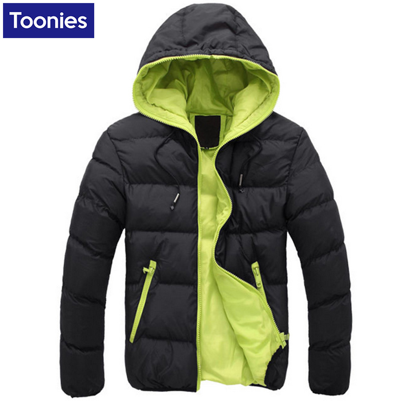 Men's Down Jacket Waterproof Hooded Autumn Winter For Men Park Fashion Plush Size Cotton Coat Zipper Casual Outerwear Top