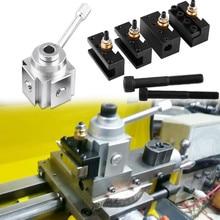 1 Набор, держатель для инструмента, алюминиевый сплав, быстрая замена, мини-токарный станок, инструмент, стойка и держатель, набор токарных принадлежностей