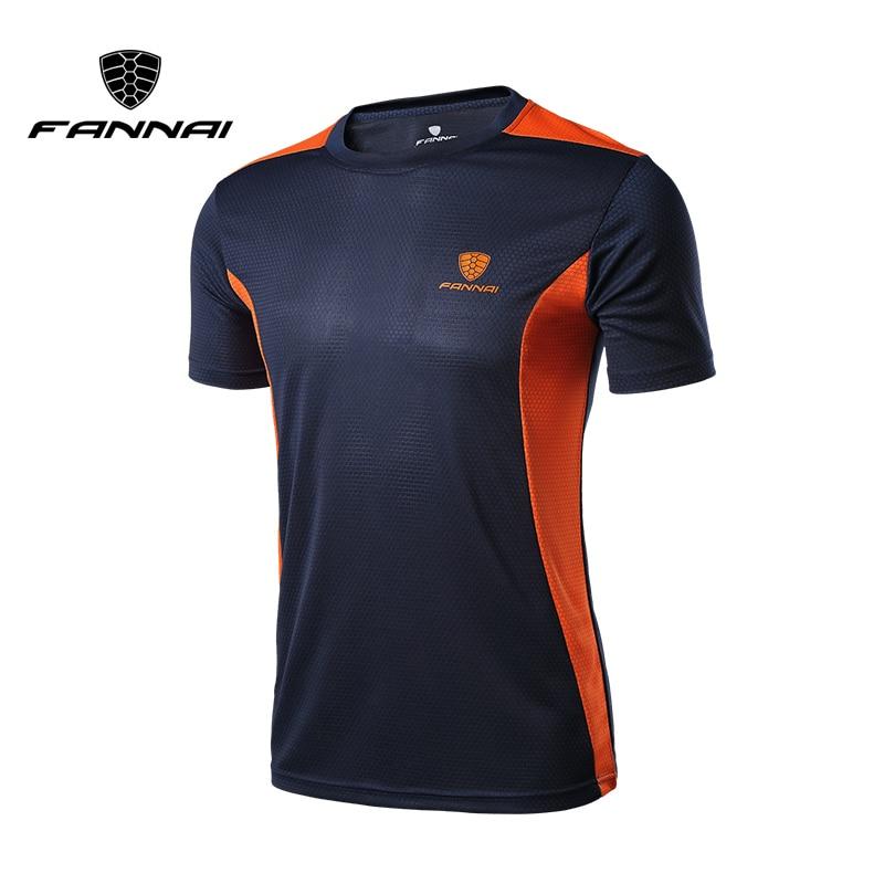 FANNAI Men's Sport Running Shirt Quick Dry Short Sleeve Basketball Soccer Training T Shirt Fitness Men Gym Clothing Boy Top Tee