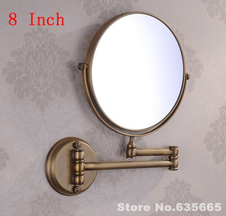 Luxury Antique Double Side 8 Bath Mirror Shave Makeup Extend Arm 3x Magnifying Espelho Do Banheiro Bathroom Sanitary Accessories