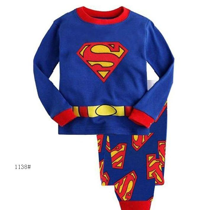 Superman Children's Pajamas Suit Baby boys Sleepwear PJ'S Girls Pijama Sets Kids Pyjama Blue Boys Sport Clothes Suit