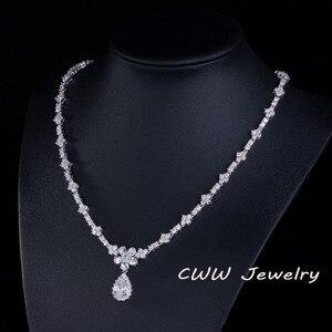 Image 3 - CWWZircons Acessórios De Noiva Cor de Ouro Branco Espumante Cubic Zirconia Cristal conjuntos de Jóias para o Casamento Da Dama de honra Presente T120