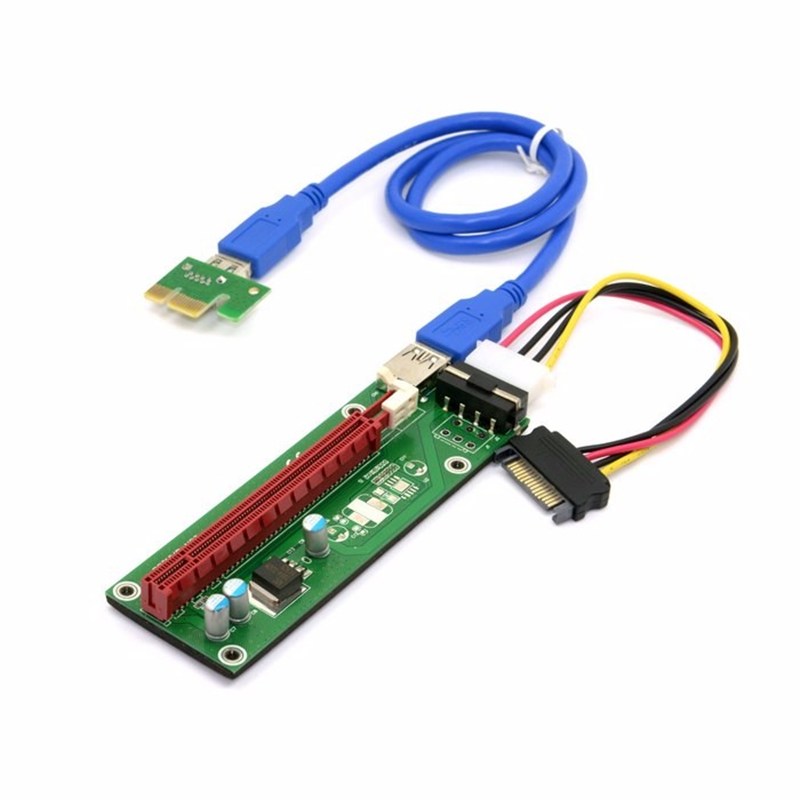 For BTC Miner Machine PCI-E extender PCI Express Riser Card 1x to 16x USB 3.0 SATA to 4Pin IDE Molex Power Supply 60cm spot goods antminer s5 1155 gh s asic miner bitcon miner 28nm btc mining sha 256 miner power consumption 590w