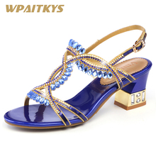 2018 New Noble Crystal High-heeled Shoes Woman Fashion Elegant Purple Blue Rhinestone Buckle Strap Women's Shoes Wedding Banquet creativesugar crystal rhinestone brooch women s flats elegant wedding prom banquet noble satin dress shoes pink white round toe