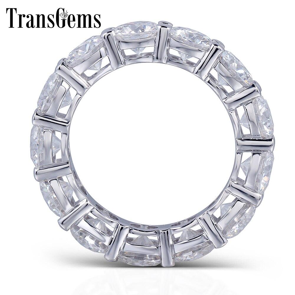 TransGems Solid 14K 585 White Gold 5mm or 3mm F Color Moissanite Eternity Wedding Band Moissanite