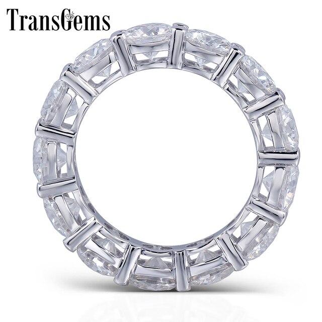 Transgems Lab Diamond Eternity Band 6 5ctw Moissanite Wedding 14k Gold Real Grown