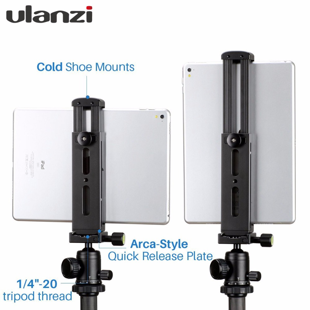 Ulanzi Aluminium Tablet Tripod Mount Adapter Stand for iPad with Quick Release Interface Hot Shoe Mount