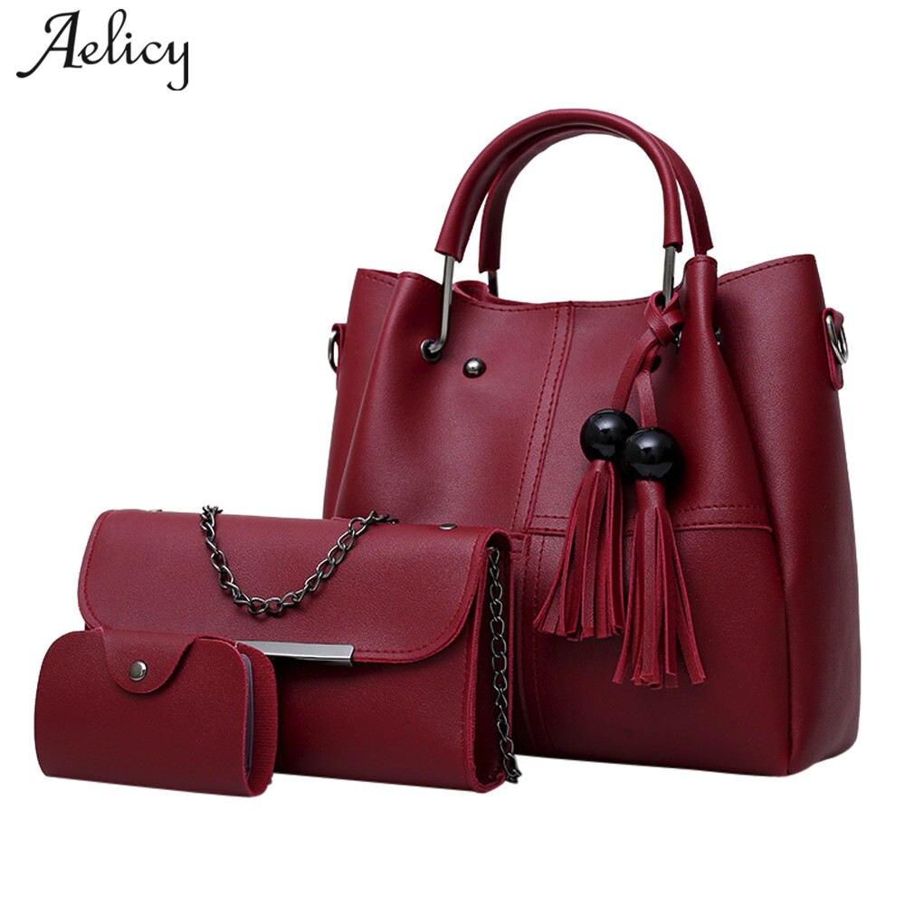 71e06cce6fc3 Aelicy 3 шт./компл. из искусственной кожи Для женщин сумка Высокое качество  Повседневная Женская обувь Сумки большой Ёмкость Композитный сумка .
