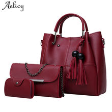 Aelicy 3 Pcs/Set Pu Leather Women Bag High Quality Casual Fe