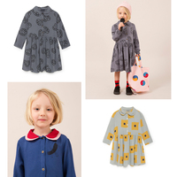 2018 Autumn Winter Bobo Choses Baby Girls Dress Kids Vestidos Clothes Moons Bird Princess Dress For