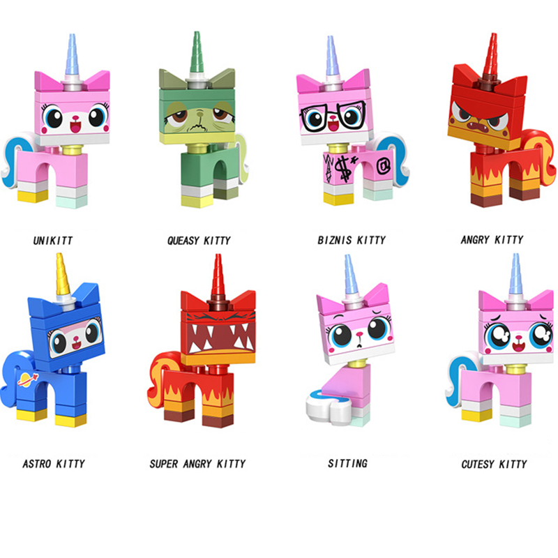 8pcs//set Cute Cartoon Girls Boys Building Blocks Models Brick Educational Toys