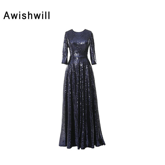 40a0478eff44 New Fashion Three Quarter Sleeves Floor-Length Sequin Dress Long Party  Fitted Women Formal Evening Gowns Long 2019