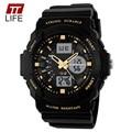 TTLIFE 2016 Digital LED de Quartzo Relógios de Pulso Pulseira de Borracha Militar Dual Time Relógio Para O Sexo Masculino Relógio Marca De Luxo Esporte Relógios homens