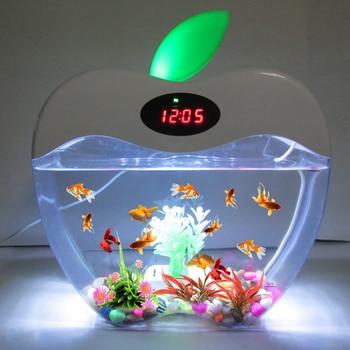 Aquarium USB Mini with LED Night Light LCD Display Screen and Clock Fish Tank Personalise Bowl D20