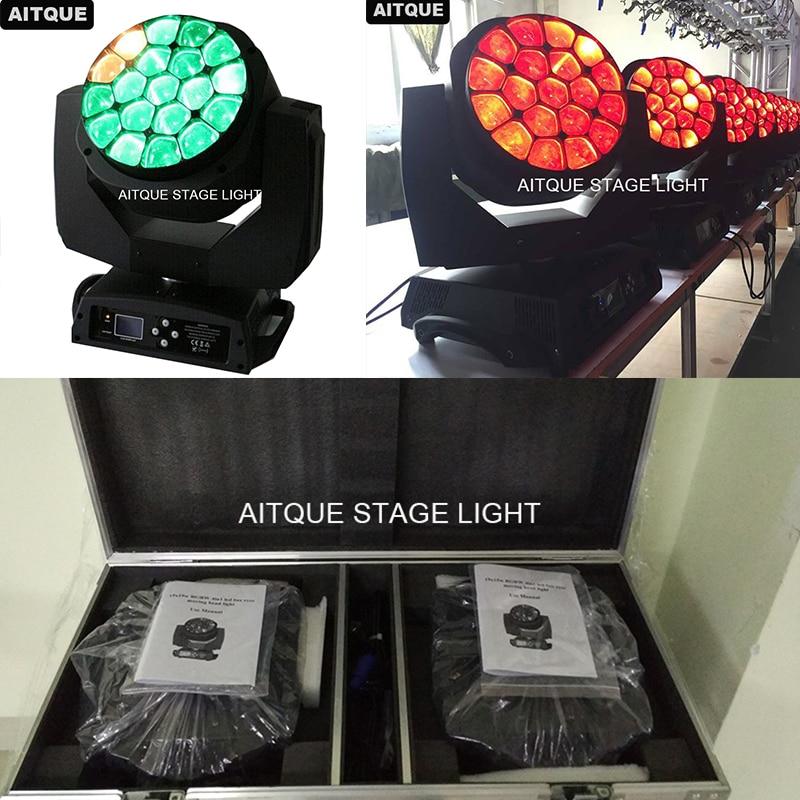 (10pcs/CASE)Stage lighting teste mobili beam b eye 19x15w b-eye led lyre moving head led zoom bee eye light flycase