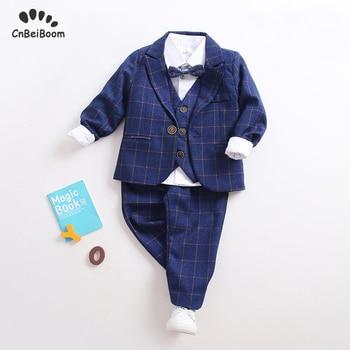 Boys Suit Set of 5-piece clothing set 2020 children's suit Blazer blue grid Formal Wedding party Tuxedo clothes flower Boy dress