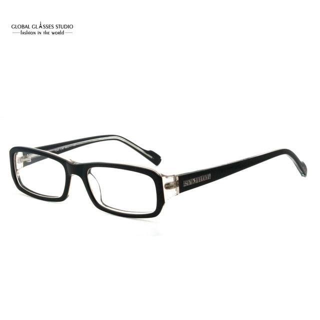 1986b0ad17 Rectangle Clean Lens Men Eyeglasses Black on Crystal Color Glasses Frame  Classic Acetate Male Eyewear 7040-C90