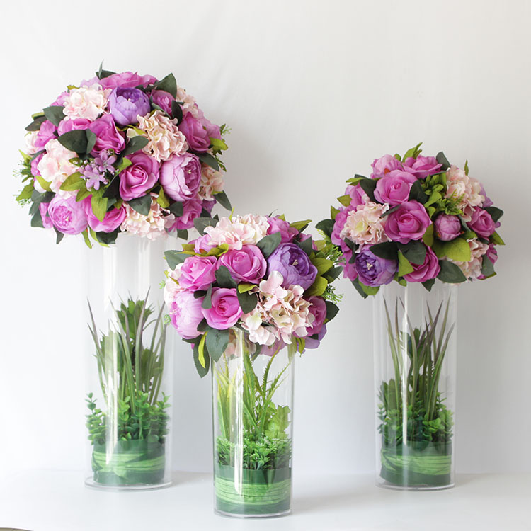 Wedding Flower Center Pieces: 40cm 15.8inch Big Artificial Wedding Road Led White Purple