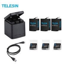 Chargeur de batterie 3 voies TELESIN et Kit 3 Batteries, boîtier de rangement de charge avec batterie de remplacement pour GoPro Hero 7 Black Hero 5 6