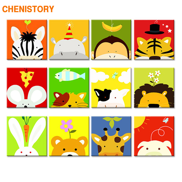 CHENISTORY Frame Kids Image DIY Painting By Numbers Cartoon Animals Acrylic Paint By Numbers Unique Gift For Children 20x20cm