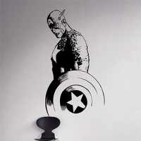 Abnehmbar Film Captain America Vinyl Aufkleber Superhero Wandaufkleber Marvel Hause Wohnzimmer Decor Vinilos Kinder Schlafzimmer