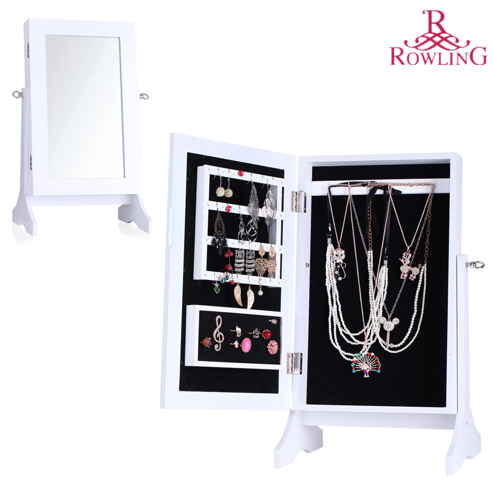 White Jewelry Storage Mirror Wood Stand Mirrored Jewellery