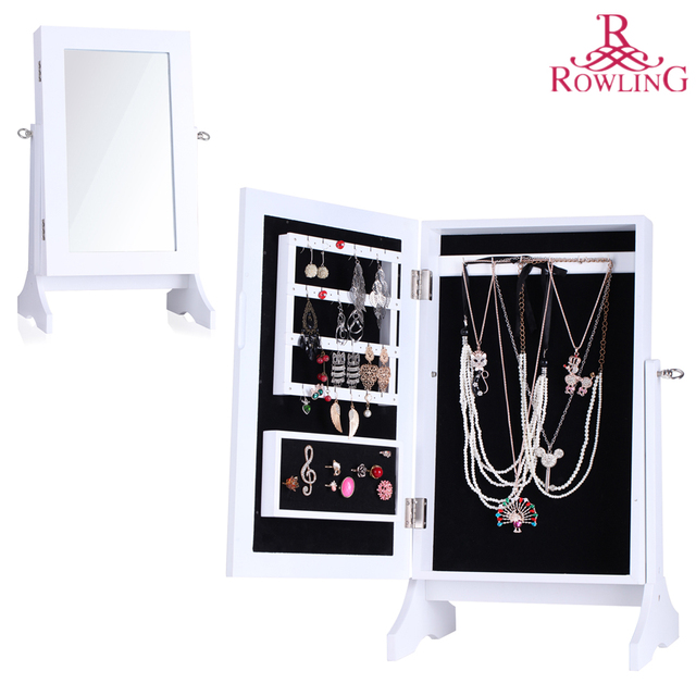 White Jewelry Storage Mirror Wood Stand Mirrored Jewellery Cabinet