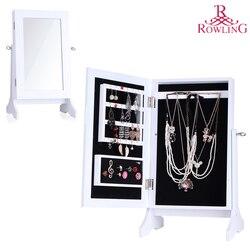 Wit Sieraden Opslag Spiegel Hout Stand Mirrored Sieraden Kabinet Ketting Display Sieraden Organisator Oorbellen Ring Kist MG022