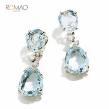 Romad Luxury Blue Stone Earrings Big Long Crystal Water Drop Drop Earrings For Women Fashion Jewelry a suit of gorgeous faux crystal water drop necklace and earrings for women