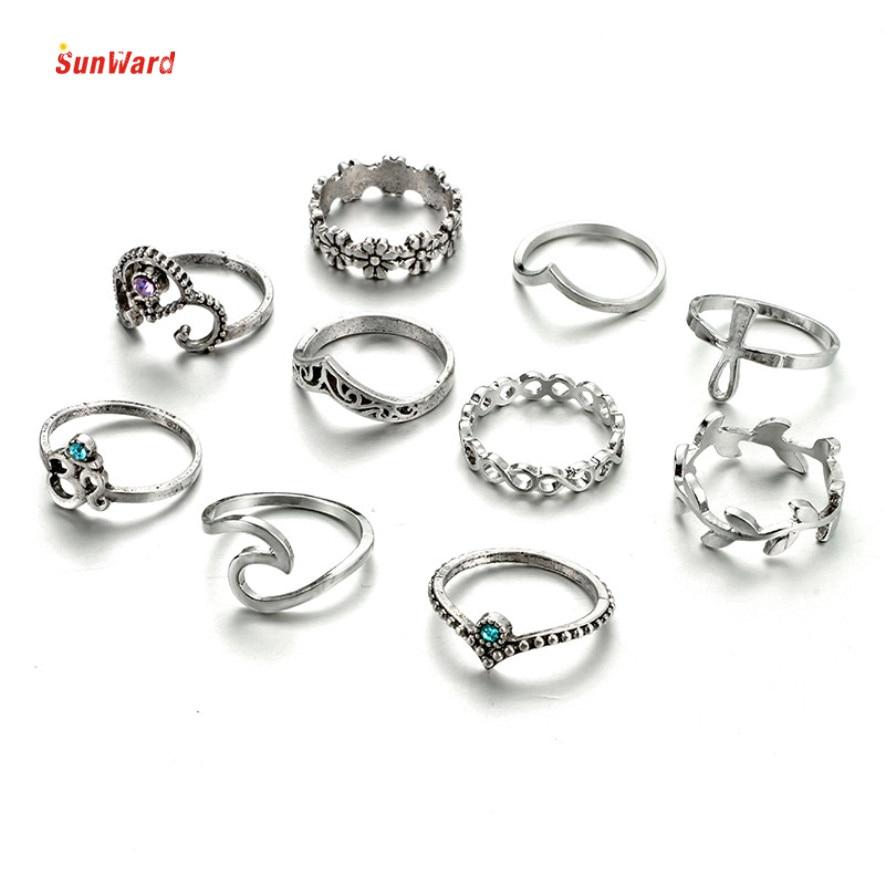 OTOKY 10pcs Set Vintage Punk Ring Set Hollow Rings Women Boho Beach Jewelry For Fashion Women