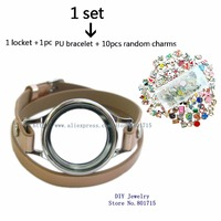 1p Plain copy stainless steel Magnetic Closure Wrap Bracelet Locket with Heirloom Facem,10p charms,light brown band