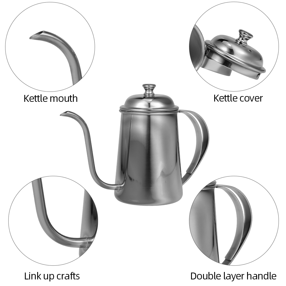 Coffee Pot Gooseneck Kettle Stainless Steel Hand Drip Kettle Pour Over Coffee And Tea Pot for Kitchen Pour Over Coffee Tea