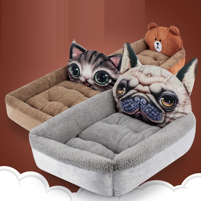 3D Cartoon Totoro Fleece House For Dog Puppy Bed Bench For Dogs Bear Lounger For Dog Bed For Medium Small Dogs Cat Pet Mat House