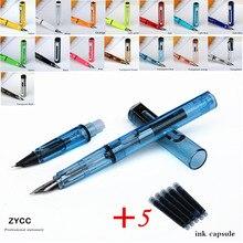 2pcs nib 5pcs Blue ink fountain pen set Jinhao colorful series new Listing ink pen