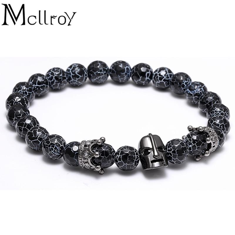 Natural stones skull Crown Charms bracelet for Men Agate beads bracelet man pulseiras Strand Bracelets Anil Arjandas Pulsera men beaded bracelet red