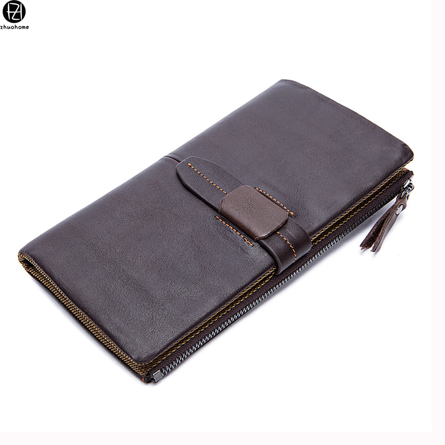 hot sale Genuine Leather Men Wallets Purse Famous Brand Long men clutch bags Credit Card Holder Phone Money Bag Dollar Price hot sale 2015 harrms famous brand men s leather wallet with credit card holder in dollar price and free shipping