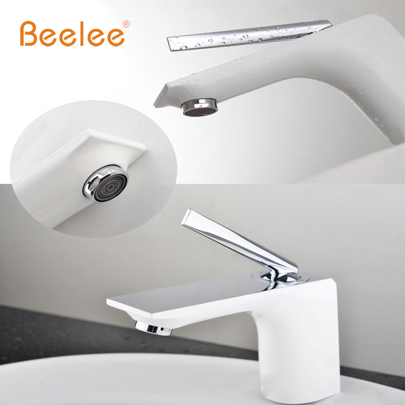Beelee Free Shipping Bathroom Faucet Grilled white paint Chrome Finish Brass Basin Sink Faucet Mixer Tap Single Handle BL8371 bakala free shipping bathroom basin sink faucet wall mounted square chrome brass mixer tap with embedded box lt 320r