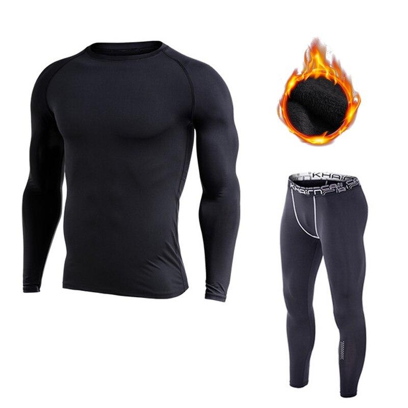 2 Pieces Men Set Thermal Underwear Winter Warm Sweat Suits Fleece Lined Tracksuit Pants Long Sleeve Man Sportwear Rashgard MMA