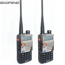 2 unids walkie talkie baofeng uv-5re plus de metal negro jamón radios de dos vías de doble banda 136-174 y 400-520 mhz portátil de camionero de caza