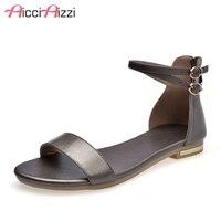 AicciAizzi Women Flats Sandals Real Leather Open Toe Zipper Ladies Summer Shoes Simple Women Sandals Holiday