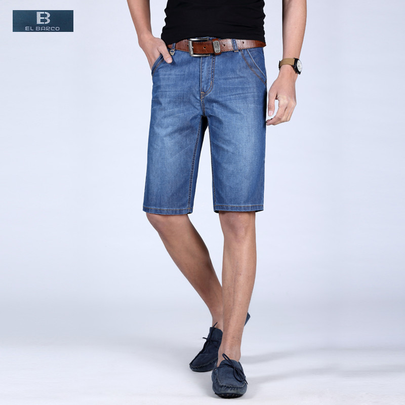 [EL BARCO] Hot New Cotton Denim Shorts Jeans Men Summer Casual Bermuda Knee Length Pocket Straight Solid Blue Male Shorts Plus