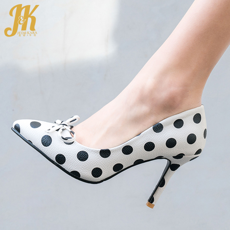 JK High Heels Pumps Women 2019 New Pumps Women Pu Polka Dot Shoes Female Party Shallow Pointed Toe Shoes Butterfly Knot Shoes