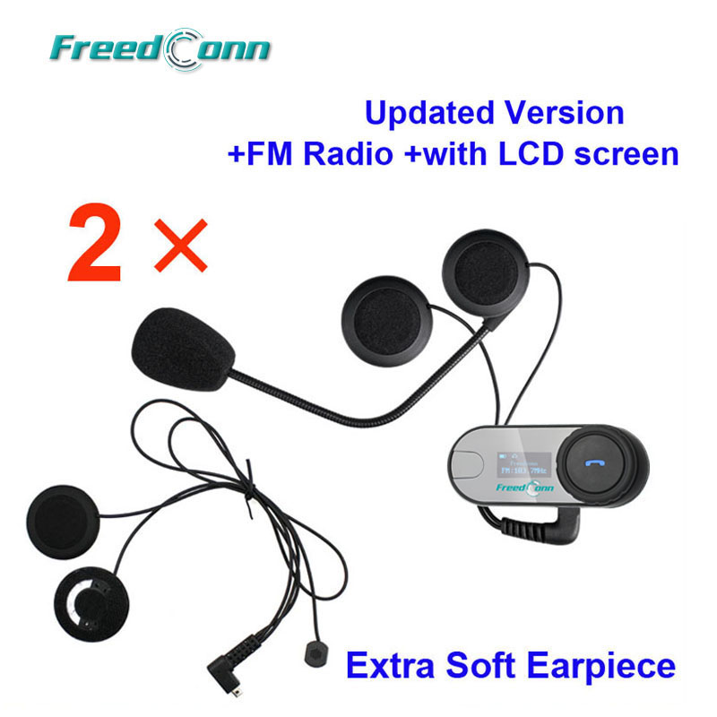 Free shipping 2x FreedConn TCOM SC W Screen Bluetooth Motorcycle Helmet Intercom Headset with FM radio