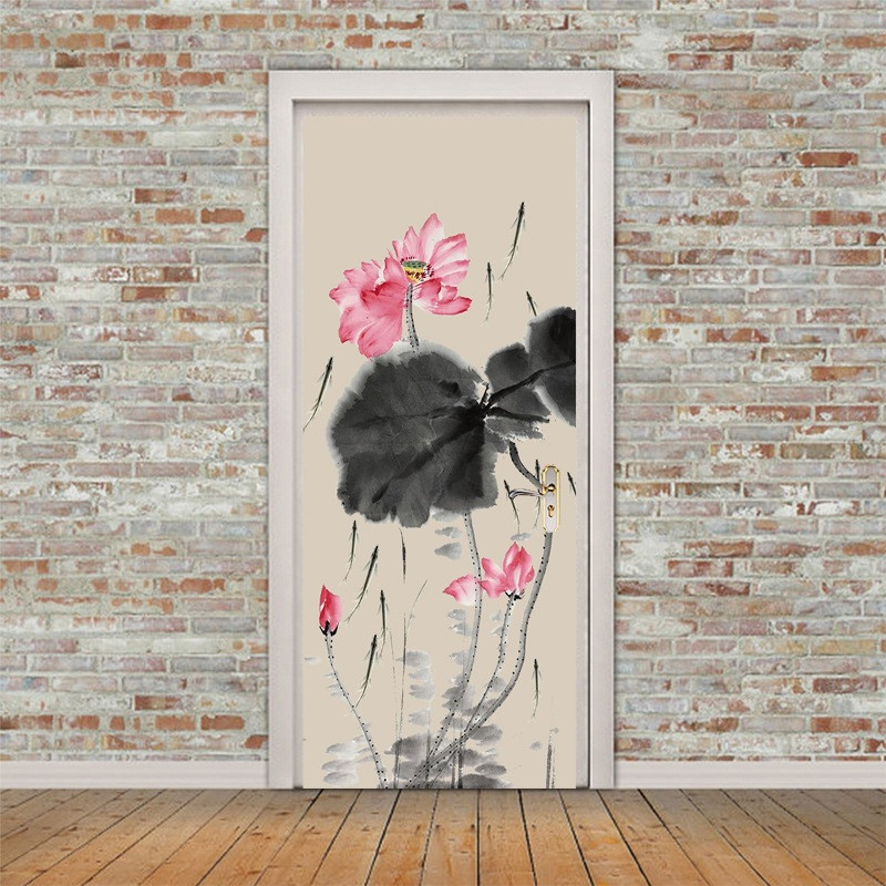 Ink And Wash Painting Door Paste Painted Pond Lotus Pattern Stickers Diy Decal Wallpaper Bedroom Door Decoration